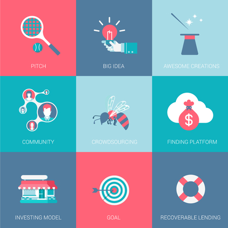 community people: Flat start up business design icons set pitch big idea community funding platform investing model goal recoverable lending modern web click infographics style vector illustration concept collection. Illustration