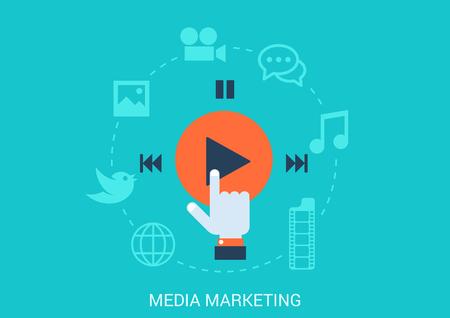 Vlakke stijl ontwerp vector illustratie social media marketing concept. Hand cursor klik afspeelknop sociale inhoud data bestandstype pictogrammen foto videoboodschap muziek. Grote platte conceptuele collectie. Stock Illustratie