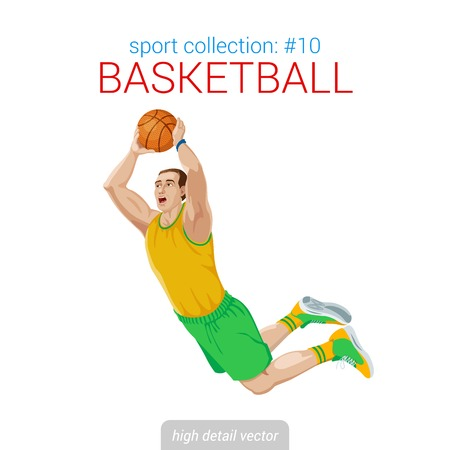 dunking: Sportsmen vector collection. Basketball player slam dunk jam jump. Sportsman high detail illustration.