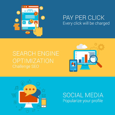 smm: SEO SMM online advertisement concept flat icons set pay per click interface search engine optimization social media marketing vector web illustration website click infographics elements collection.