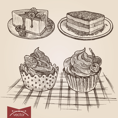 dessert: Engraving style pen pencil crosshatch hatching paper painting retro vintage vector lineart illustration set of cakes and tarts. Tiramisu, cheese cake, creamy biscuits. Engrave silhouette collection