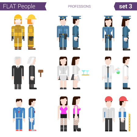 prostitute: Flat style design professional people vector icon set. Professions fireman, policeman cop, policewoman, judge, waiter, chemist, prostitute, coach, engineer. Flat people collection.
