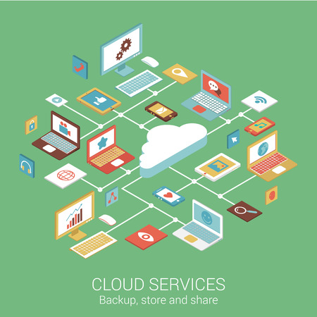 Moderní plochý design koncept cloud služby zařízení počítač tablet telefon a vektorových web bannery ilustrační tiskové materiály Internetová stránka Kliknutím infografiky prvky izometrické na výběr. Ilustrace
