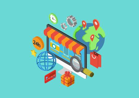平らな 3 d のオンライン ショッピング等尺性現代概念順序チェック アウト支払い配信出荷世界各地ベクトル web バナー イラストをデザイン印刷材料