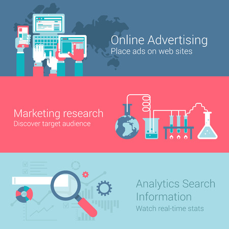 marketing research: Online marketing advertisement concept flat icons set of hands touch screen tablet phone laptop ads research audience analytics vector web illustration website click infographics elements collection. Illustration
