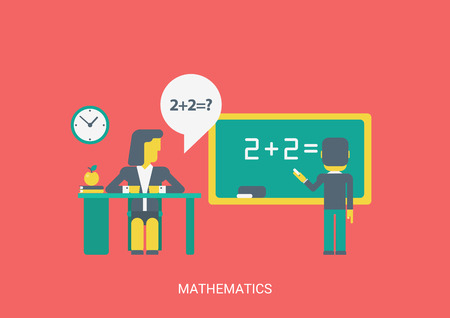 sitting at table: Flat style vector illustration math algebra or abstract lesson education study knowledge concept. School teacher sitting table student pupil solve task equation do sums. Flat collection.