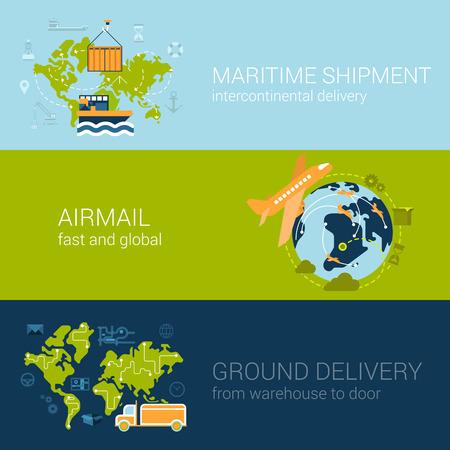Concepto de logística plana de tipos de envío y entrega. Web ilustración vectorial conjunto de plantillas infografía. Colección de proceso: envío marítimo, correo aéreo, la entrega de tierra, barco, avión, aviones, van.