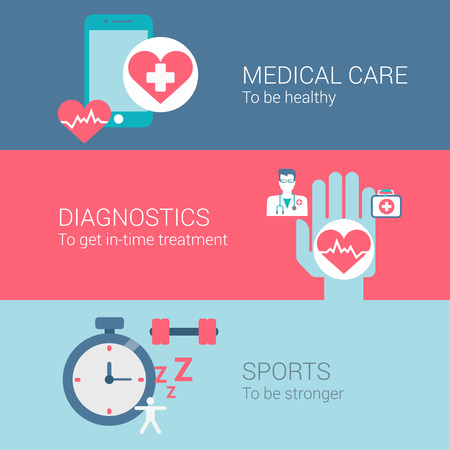 healthy lifestyle: Medical care diagnostics sports concept flat icons set of healthy lifestyle treatment and vector web banners illustration print materials website click infographics elements collection. Illustration