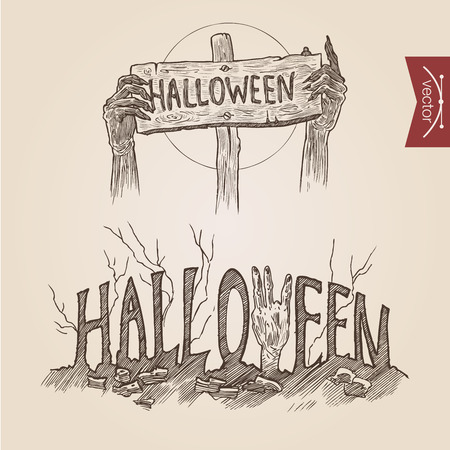 crosshatch: Halloween zombie party hands posters handdrawn engraving style template banner print web site set pen pencil crosshatch hatching paper painting retro vintage vector lineart illustration.
