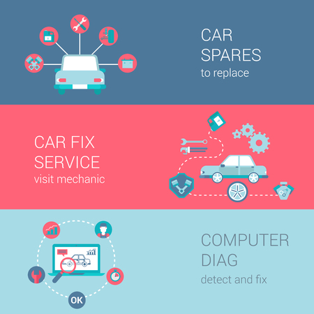 detect: Car fix service spares mechanic shop diag concept flat icons set vector web banners illustration print materials website click infographics elements collection.