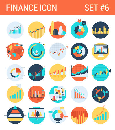 graphic: Finance infographics flat icons set diagram statistics graphics chart pie report market analysis bar graph stats web click infographic style vector illustration concept collection.
