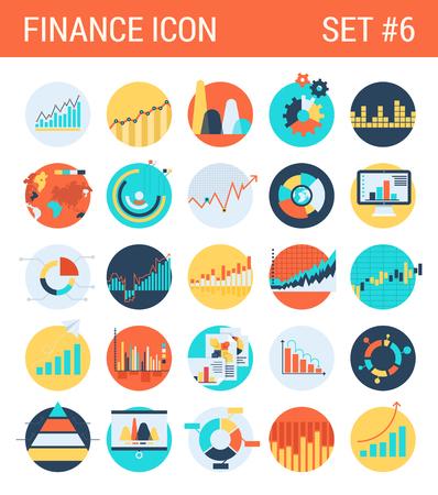 Infografías Finanzas iconos planos establecer tabla de estadísticas de diagramas gráficos informe pastel de análisis de mercado de barras estadísticas gráfico web, haga clic en la ilustración colección concepto de estilo vectorial infografía. Foto de archivo - 44798666