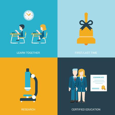 aula: Estilo Flat ilustración icono de diseño conjunto de vectores volver al concepto de la educación escolar. Niño y niña sentada en el escritorio en el aula, campana de mano, microscopio, los graduados de certificados. Gran colección de iconos planos.