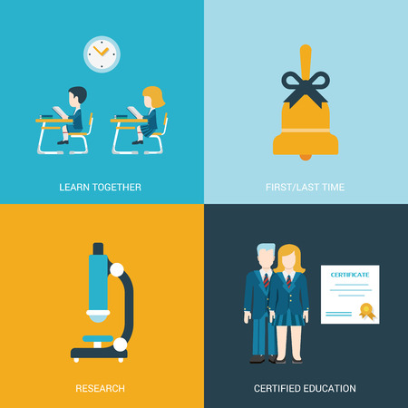 classroom: Flat style design vector illustration icon set back to school education concept. Boy and girl sitting at the desk in classroom, hand bell, microscope, certificate graduates. Big flat icons collection. Illustration