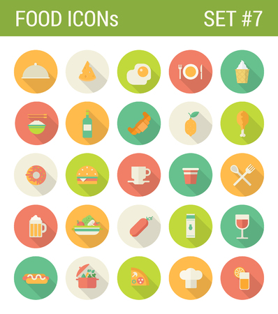 Food flat icons set restaurant cafe bar menu template drink fastfood web click infographics style vector illustration concept collection. Ilustrace