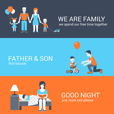 daughter: Family parenting children kids people concept flat icons set of parents mother father girl boy son daughter and website click for infographics design web elements vector illustration.