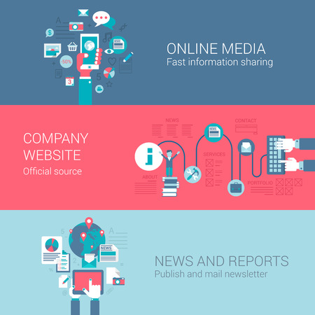 Medios sociales en línea carta de noticias web de la empresa iconos planos informe concepto conjunto de fuentes de información y de vectores web banners materiales impresos ilustración sitio web de clic de recolección infografías elementos.