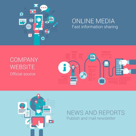 Online social media website van het bedrijf nieuwsbrief rapportconcept vlakke pictogrammen set van informatiebronnen en vector webbanners illustratie drukwerk website klik infographics elementen collectie.