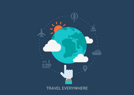 voyage: Flat style vector illustration travel tourism booking concept. Globe hand transport icons clouds weather. Big flat conceptual collection. Illustration