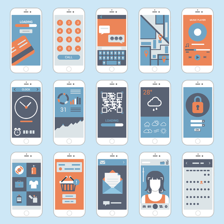 phone the clock: Mobile touch screen phones interface windows vector. Flat style modern elements web site click banner icon ui ux elements.