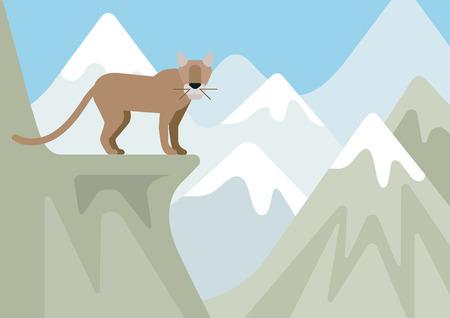 puma: Puma lynx bobcat winter mountain landscape habitat flat design cartoon vector wild animals. Flat zoo nature children collection. Illustration