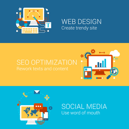 smo: SEO webdesign social media concept flat icons set of processes search engine optimization word of mouth vector web banners illustration print materials website click infographics elements collection.
