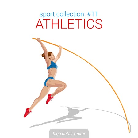 high jump: Sportsmen vector collection. Vault jumper female athlete pole jump. Sportsman high detail illustration.