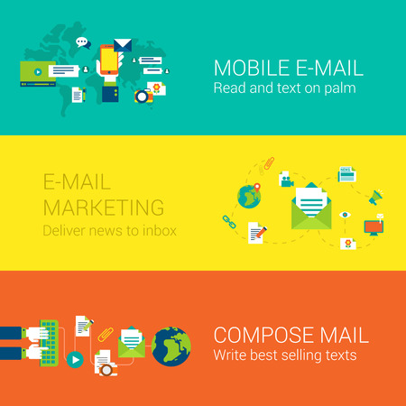 web screen: Email mobile marketing subscription concept flat icons set of mail touch screen phone world global news delivery inbox and vector web illustration website click infographics elements collection.
