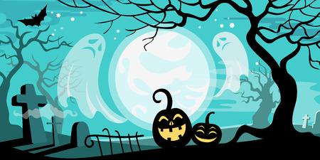 calabaza caricatura: Ilustración vectorial de Halloween concepto de plantilla cementerio miedo fantasmas de árboles muertos calabaza bate de luna llena.