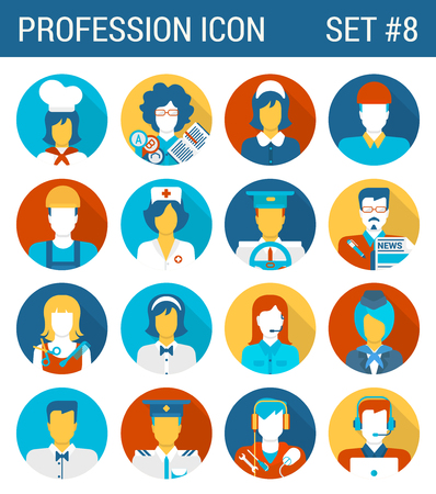 technician: Professions flat icons set cook teacher governess builder doctor nurse driver journalist hairdresser waiter stewardess pilot technician it guy support staff professional web infographics vector. Illustration