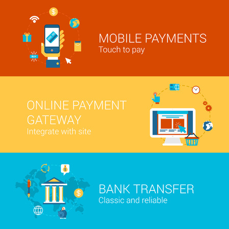 Online payment concept flat icons set of touch screen phone mobile payment checkout gateway bank transfer vector web banners illustration print materials website click infographics elements collection.