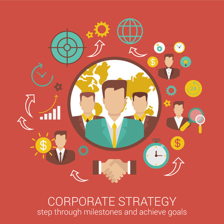 business time: Corporate business strategy flat style design vector illustration concept. Collage of business people deal contract partnership time money report infographics. Big flat conceptual collection.