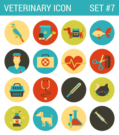 doctor fish: Veterinary medicine flat icons set pet animal medical service veterinarian doctor nurse fish cat dog bird heart monitor help care web click infographics style vector illustration concept collection.