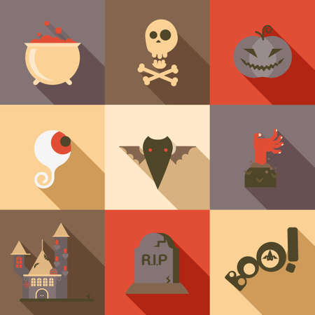 boo: Halloween flat icon set poison skull eye bat zombie hand grave pumpkin boo castle longshadow modern style creative design template collection. Illustration