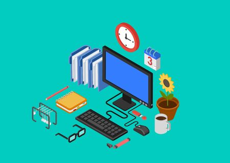 pc monitor: Modern flat 3d isometric design concept office interior computer table workplace monitor keyboard glasses coffee mouse pc diary planner vector web banners illustration website infographics collection.