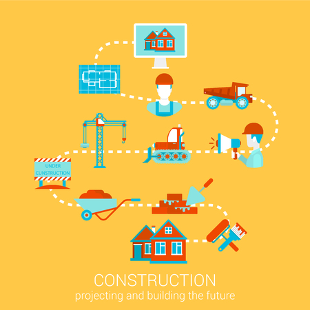 renovation: Construction home building renovation flat style design vector illustration concept. Collage of construction architecture business people object tools infographics. Big flat conceptual collection.