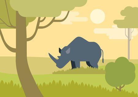 rhino vector: Rhino savanna flat design cartoon vector wild animals rhinoceros. Flat zoo children collection.