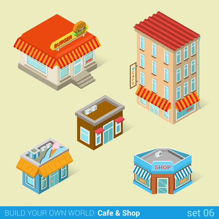 local business: Architecture modern city business buildings icon set flat 3d isometric web illustration vector. Business center mall public government and skyscrapers. Build your own world web infographic collection. Illustration