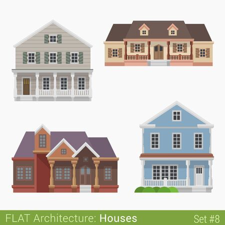 suburb: Flat style modern buildings countryside suburb townhouse cottage loghouse houses set. City design elements. Stylish design architecture real estate property collection. Illustration