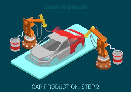 asamblea: La producción de autos proceso paso planta 2 pintura robot automático funciona plana 3D isométrico concepto infografía ilustración vectorial. Rocíe los robots de pintura en el taller de montaje. Construir colección mundo creativo. Vectores