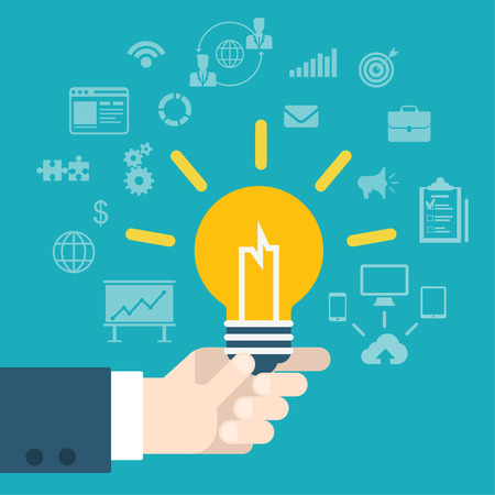 idea lamp: Flat style modern idea innovation light bulb infographic concept. Conceptual web illustration of businessman hand holding lamp. Business strategy planning objects icon set collage. Illustration