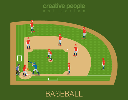 team sports: Baseball stadium competition match play. Sport modern lifestyle flat 3d web isometric infographic vector. Young joyful people team sports championship. Creative sportsmen people collection.