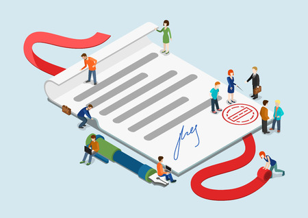 overblown: Flat 3d web isometric certificate and casual mini people infographic concept vector. Little business people around overblown paper sheet with stamp and signature. Creative people collection.