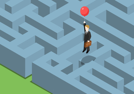 problem: Risk management concept flat 3d web isometric infographic. Labyrinth maze puzzle avoid business problems creative smart solutions. Businessman on balloon flying over obstacles, keep away from crisis.