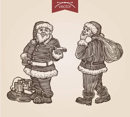 Christmas Santa with gift bags New Year handdrawn engraving style full body portraits set template poster banner print web site pen pencil paper painting retro vintage vector lineart illustration.
