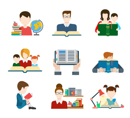 children studying: Conjunto de personas de educaci�n icono de estilo plano