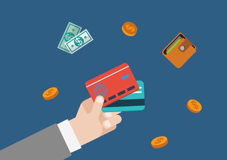 tarjeta de credito: Tarjeta de crédito la financiación del pago de dinero vector plana concepto de web plantilla de ilustración. Empresario lado la celebración de las tarjetas bancarias, monedas, cartera y billetes de banco. Colección conceptual Monetaria.