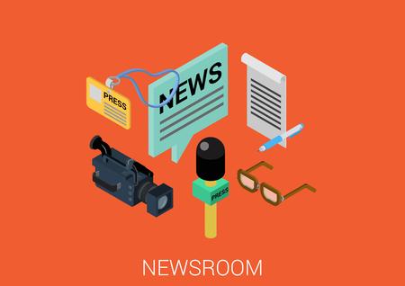 News room media flat 3d isometric pixel art modern design concept vector. Newsroom correspondent journalist tools microphone camcorder video badge web banners illustration website infographics pixelart.