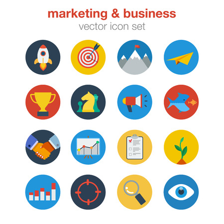 business deal: Flat marketing business design icon set. Web click infographics style vector illustration concept. Startup target digital goal mail prize trophy acquisition merger deal report invest search lookup.