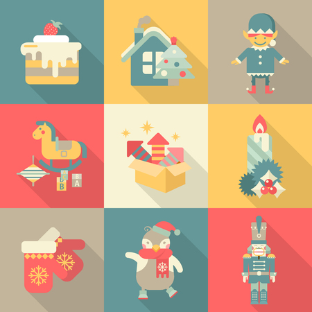 christmas characters: Christmas characters sweets New Year icon set flat style concept